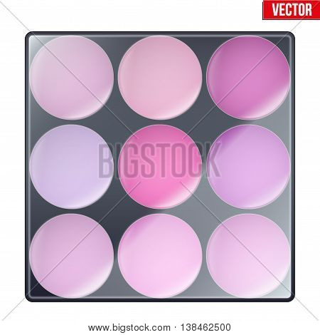 Colourful of Make Up Palette with magenta shades. Eyes or face shadow. Beauty and cosmetics design. Editable Vector illustration Isolated on white background.