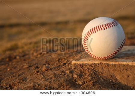 Baseball On Pitchers Mound Rubber