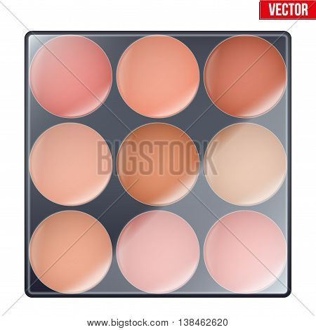 Colourful of Make Up Palette with warm shades. Eyes or face shadow. Beauty and cosmetics design. Editable Vector illustration Isolated on white background.