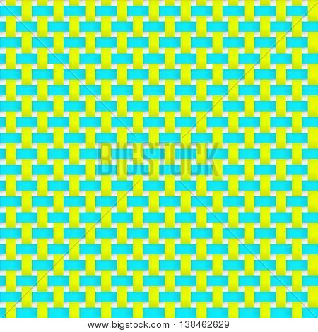 Interlacing paper fabric tapes with drop shadows and bending elements. Yellow and blue color. Seamless vector texture. Seamless pattern. Vector geometric background.