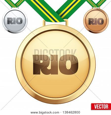 Three Medals with tag of Rio. Gold, Silver and Bronze. Vector Illustration isolated on white background.