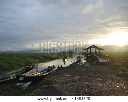 Sunset With Boats On The River, Inle Lake, Myanmar