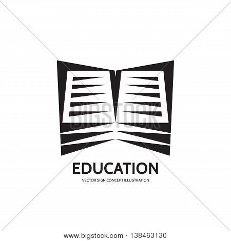 Library book - vector logo template. Education sign concept illustration. E-book symbol. Design element.