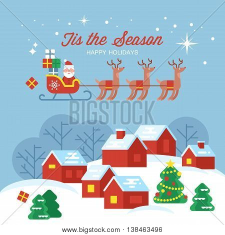 Modern creative Christmas greeting card design with country village landscape and Santa sleigh . Vector illustration