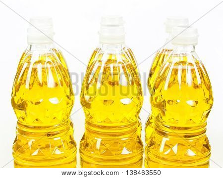 bottles oil of refined palm olein from pericarp