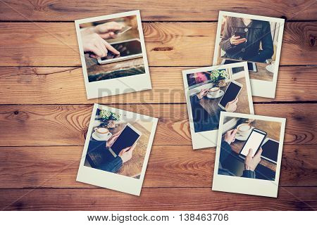 Frame Photos Of Woman Using Phone And Tablet Set In Coffee Shop Concept On Table Wood Background. Vi