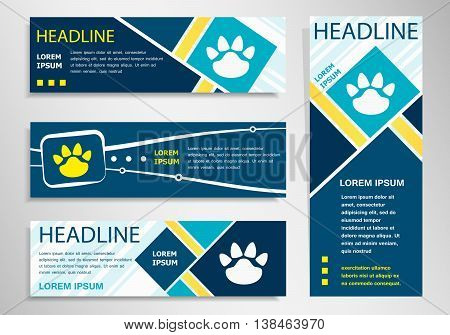 Paw Icon On Horizontal And Vertical Banner