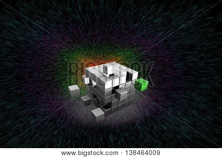 3d puzzle cube concept of finding solution to a problem through a solution cube which is in green color.