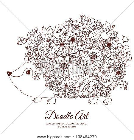 Vector illustration zentangl hedgehog with flowers. Doodle animal, forest, nature, puddle. Coloring book anti stress for adults. Brown and white.
