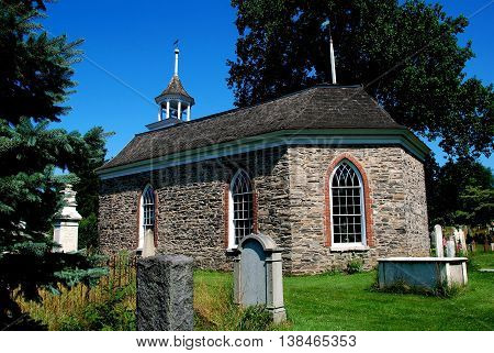 Sleepy Hollow NY - July 9 2009: 1685 Old Dutch Church of Sleepy Hollow the oldest surviving church in NY State