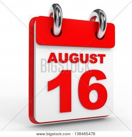 16 August Calendar On White Background.