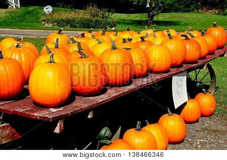 Spencertown NY - September 17 2014: Pumpkins are displayed for sale on an old cart at a roadside farm stand on State Route 203