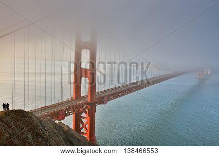 Fog, Mist, and Silhouettes. The Golden Gate Bridge, San Francisco, California, USA