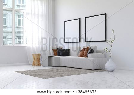 3D rendering of spacious simple living room with neatly arranged sofa and pillows and plant next to pair of blank square picture frames and wall with copy space