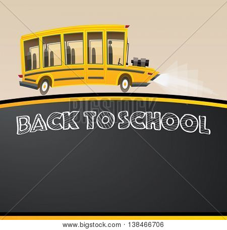Back to School on Black Chalk Board. Vector Illustration. Racing Bus in Cartoon Style with Big Engine and Copy Space.