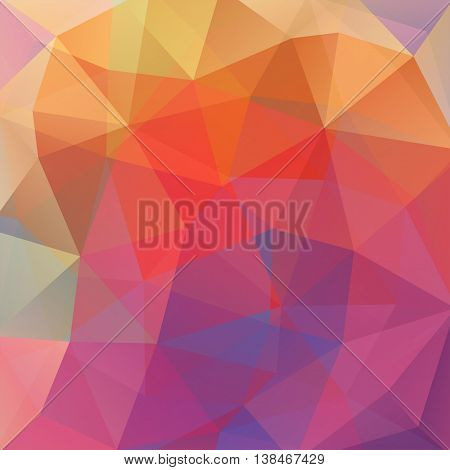 Geometric Pattern, Polygon Triangles Vector Background In Orange, Purple Tones. Illustration Pattern