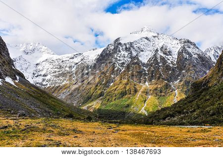 Snowy Mountains In The Milford Road, New Zealand