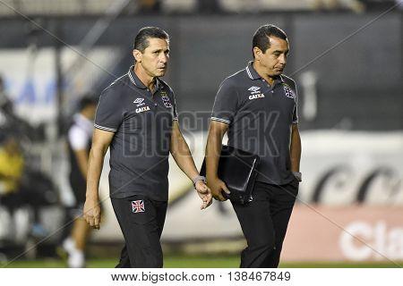 Rio de Janeiro Brasil - july 13 2016: Jorginho coach in match between Vasco and Santa Cruz by the Brasil championship in the Sao Januario Stadium