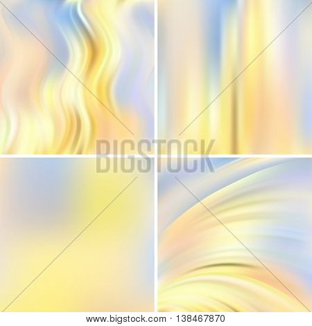Set Of Four Square Backgrounds. Abstract Vector Illustration Of Colorful Background With Blurred Lig