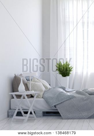 Night stand and fern plant on either side of empty unmade bed over hardwood white floor for home scene. 3d Rendering.