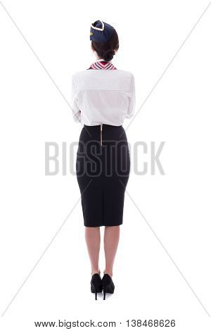 Back View Of Young Beautiful Stewardess Isolated On White