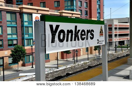 Yonkers NY - August 6 2012: Metro-North Railway sign on the railroad station platform