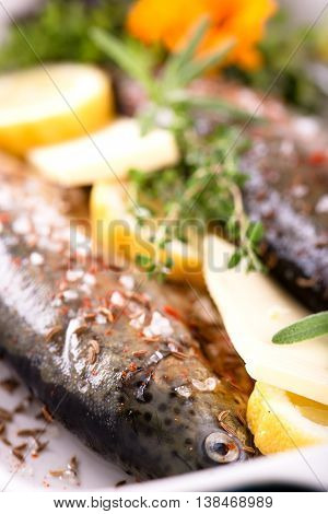 Fresh Trout In Pan With Butter With Lemon And Thyme