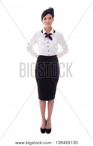 Portrait Of Stewardess In Uniform Isolated On White