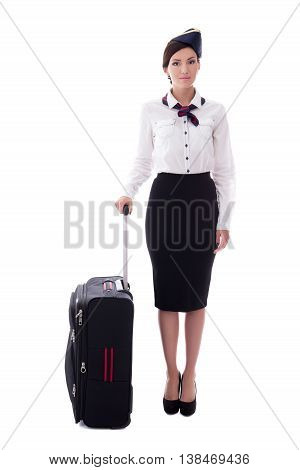 Young Stewardess With Suitcase Isolated On White