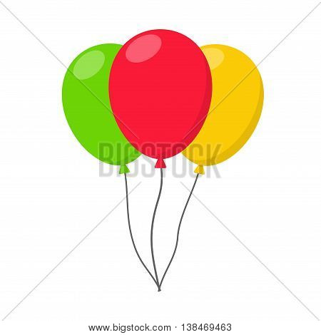 Colorful Balloon in flat style carnival happy surprise helium string. Air balloons isolated on white background. Three balloons set group for birthday party anniversary celebration.