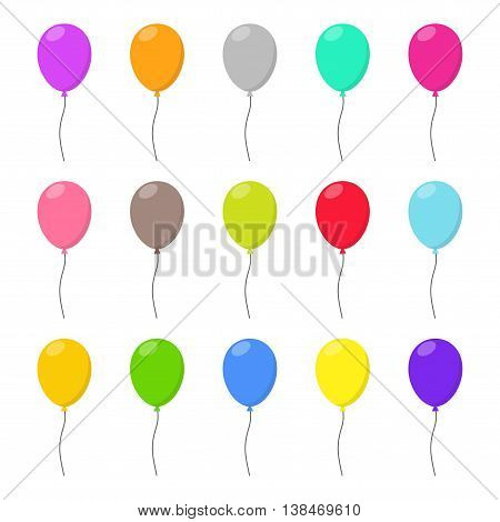 Colorful Balloons set in flat style carnival happy surprise helium string. Air balloon isolated on white background. Balloons set different colors group for birthday party anniversary celebration.