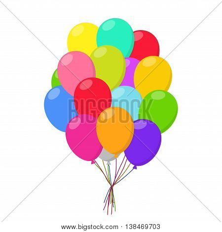 Air balloons group in flat style carnival happy surprise helium string. Bunch colorful balloons isolated on white background. Balloons set group for birthday party anniversary celebration.