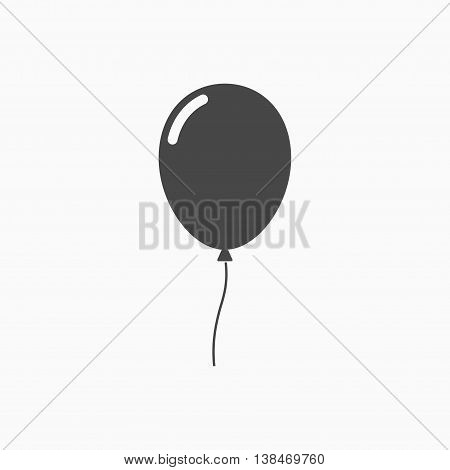 Balloon icon in flat style carnival happy surprise helium string. Air black vector balloon isolated on grey background.