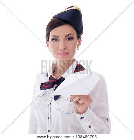 Young Stewardess Holding Paper Plane Isolated On White