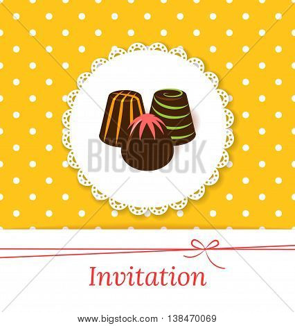 Festive vector invitation card with chocolate candies. Lace label and color candy on polka dot background. Retro style.