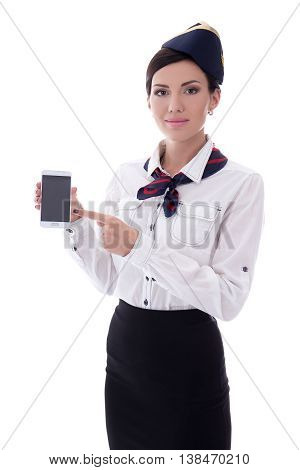 Young Stewardess Showing Smart Phone With Blank Screen Isolated On White