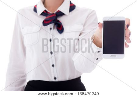 Travel And Booking Concept - Stewardess Holding Smart Phone With Blank Screen Isolated On White
