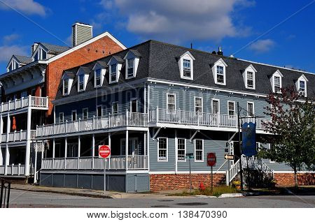 Cold Spring NY - October 17 2014: The 19th century Hudson House River Inn overlooks the Hudson River opposite the town pier *