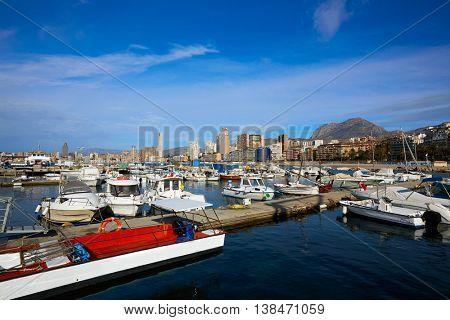 Benidorm Marina port in Alicante Mediterranean of Spain