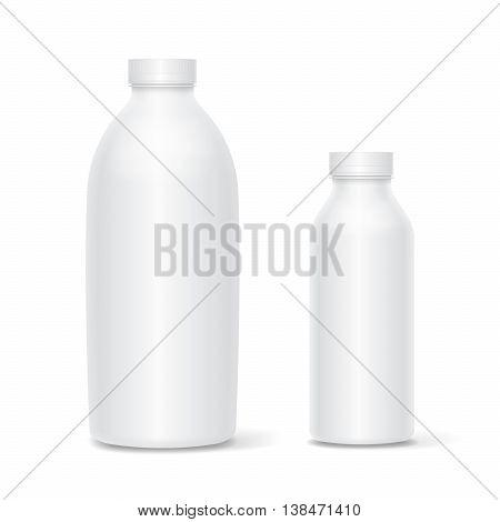 Vector Set of blank white bottles for milk or yogurt