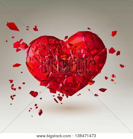 Polygonal 3D broken heart on gradient volume background