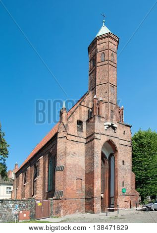 Medieval Gothic church of Saint Elisabeth in Gdansk Poland built in 15th century