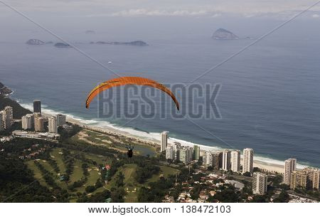 Paragliding from Pedra Bonita ramp in Tijuca Forest National Park, Rio de Janeiro, Brazil