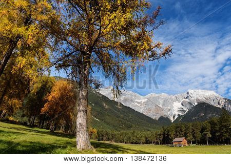 Idyllic landscape of Miemenger Plateau in colorful autumn season. Austria Tyrol.