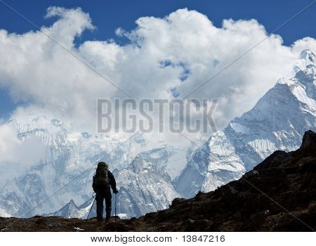 Hiker in Himalayan mountains