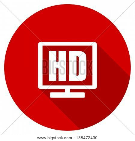 hd display vector icon, red modern flat design web element