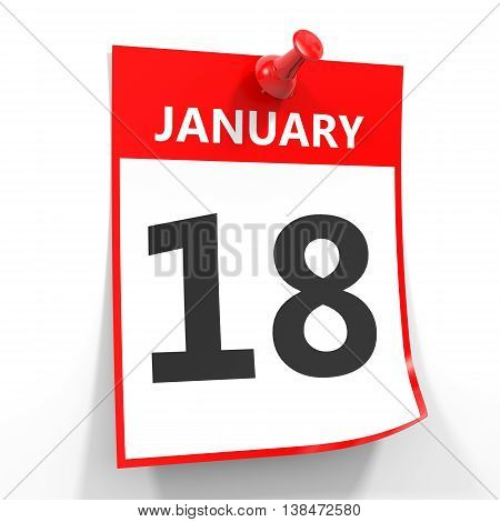 18 January Calendar Sheet With Red Pin.