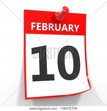 10 February Calendar Sheet With Red Pin.