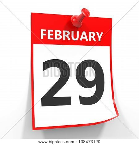 29 February Calendar Sheet With Red Pin.