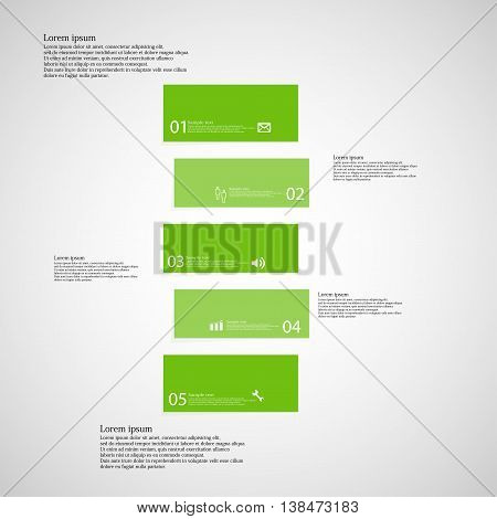 Illustration infographic template with shape of bar. Object horizontally divided to five shifted parts with green color. Each part contains Lorem Ipsum text number and sign. Background is light.